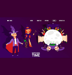 Web banner for witches time magic stuff poster vector