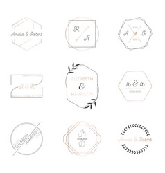 Wedding monogram collection invitation cards vector