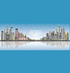 welcome to dubai uae skyline with gray buildings vector image