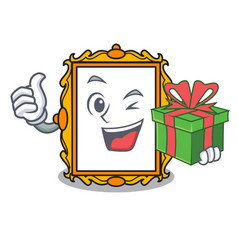 With gift picture frame mascot cartoon vector