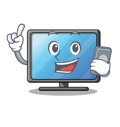 with phone lcd tv cartoon in living room vector image