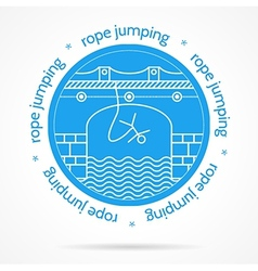With round blue icon and text for rope jumping vector