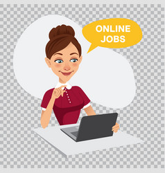 woman is searching job online recruitment service vector image