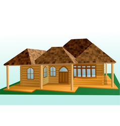 Wooden house exterior vector
