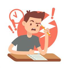 Worried upset teen student on exam education vector
