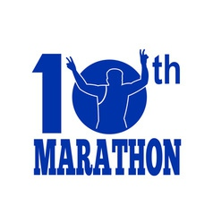 10th marathon run race runner vector image
