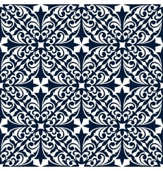 Blue and white floral arabesque seamless pattern vector image