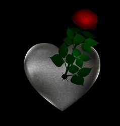 flower and stone heart vector image vector image