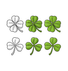 good luck four and three leaf clover vintage vector image vector image
