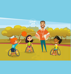 joyful disabled kids in wheelchairs playing with vector image