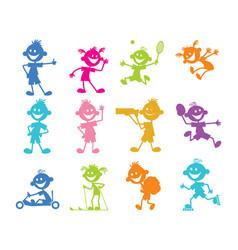 set of cartoon children vector image vector image