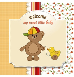 welcome baby card with boy teddy bear and his duck vector image