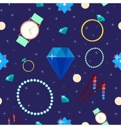 Woman Fashion Seamless Pattern with Jewelry vector image