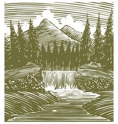 Woodcut Waterfall Wilderness vector image vector image