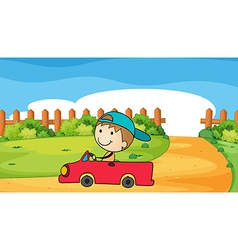 A young boy in his car vector image vector image