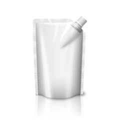Blank white realistic plastic pouch with cap vector image vector image