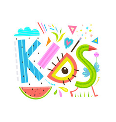 funny abstract kids lettering sign inscription vector image vector image