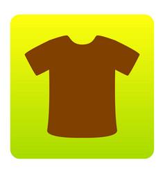t-shirt sign brown icon at green-yellow vector image