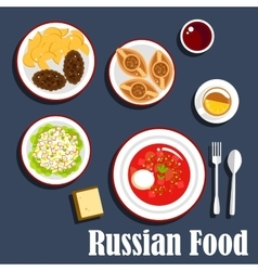 Typical dinner of russian cuisine flat icon vector image vector image