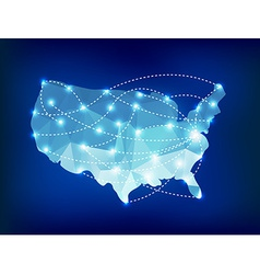 USA country map polygonal with spot lights places vector image vector image
