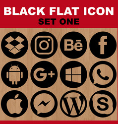 black flat icon set one image vector image