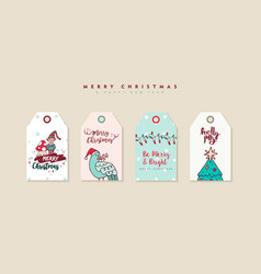 Christmas and new year cartoon holiday label set vector