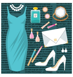 Fashion set with a cocktail dress vector image vector image