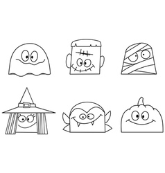 outlined halloween faces vector image