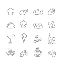 Restaurant line icons set Pizza and ice vector image