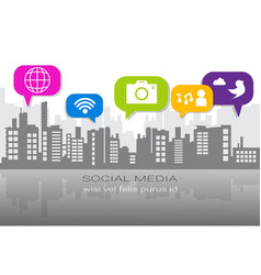 social media icons over silhouette city background vector image vector image