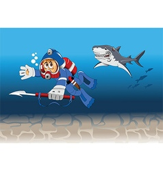 underwater diver chase cartoon vector image
