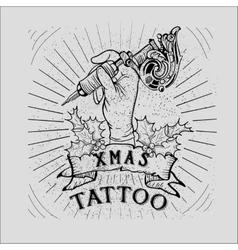 Vintage christmas skull tattoo vector