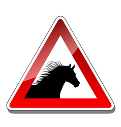 A warning sign horse vector image vector image