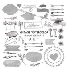 big watercolor vintage set vector image vector image