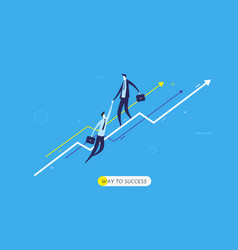 businessman climbing graph help vector image