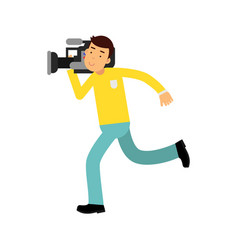 cameraman character running with a professional vector image