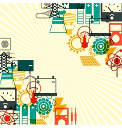 Industry background with power icons in flat vector image