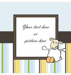 lovely blue baby card or frame vector image vector image