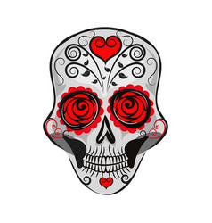 mexican skull with patterns vector image