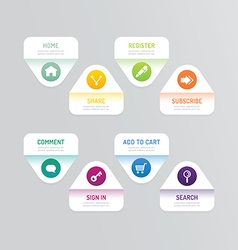 Modern banner button with social icon design optio vector