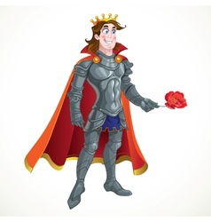 Prince Charming in armour give flover vector image vector image