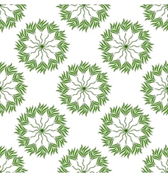 seamless pattern of green leaves on a white vector image