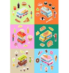 Set of street fast food eatery on wheels vector