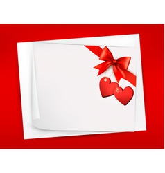 Valentine background with red gift bow and two vector image vector image