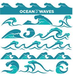 waves icons of water tidal gale blue ocean wave vector image