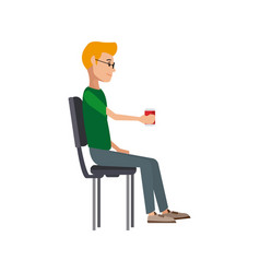 Young man sitting in office chair thinking vector
