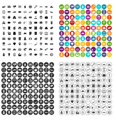 100 coin icons set variant vector