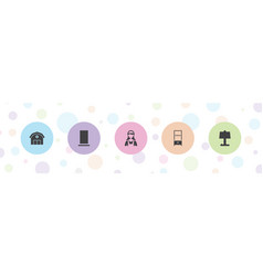 5 room icons vector