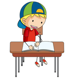 A doodle boy reading book vector