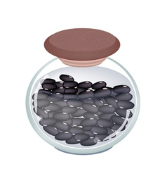 A glass jar of preserved black beans vector